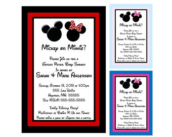 Mickey and Minnie Mouse Inspired Gender Reveal Baby Shower Invitation - You Print