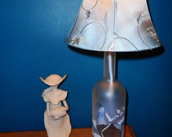 Recycled Gray Goose  Liquor Bottle Lamp with embroidered lamp shade by Kams-store.com