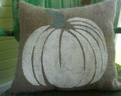 FALL HALLOWEEN White and Gray PUMPKIN Fun Painted Burlap Throw Accent Pillow Home Decor