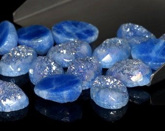 Grade AA Faceted Amazing 1 Piece Blue Oval 10x14mm Calibrated Druzy Druse Cabochon B84D5666