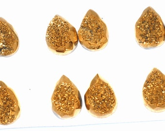 Grade AA Faceted Amazing 1 Piece Gold Teardrop 10x14mm Calibrated Druzy Druse Cabochon B86D5737