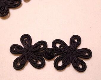 Black Floral Design Frog Closure--One Set