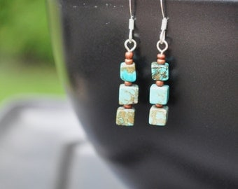 Earrings: Turquoise cubes and copper glass