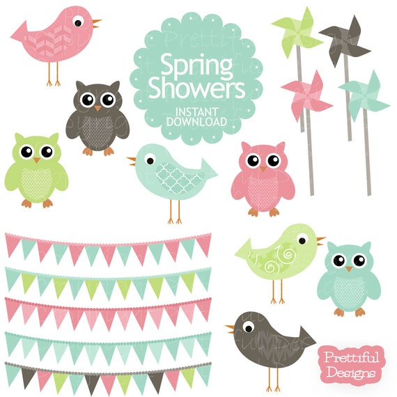 Owl Clip Art Bird Pinwheel Bunting Digital Art in Pinks Aqua Digital Scrapbooking Commercial Use - Spring Showers (695)