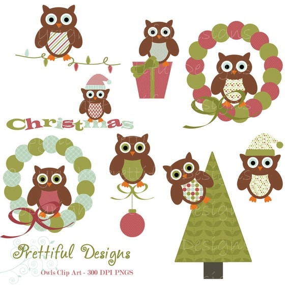 50% OFF SALE Christmas Owl Clip Art for Digital Scrapbooking, Invitations, Paper Goods, Card Making - Tis The Season (782)
