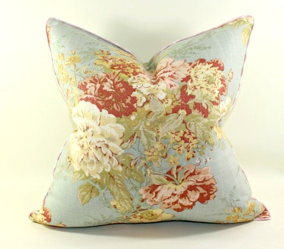Waverly Ballad Bouquet In Robins Egg Pillow Cover By