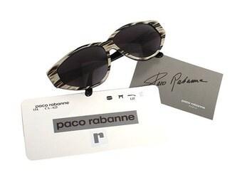 paco rabanne sunglasses - vintage designer sunglasses gold black grey - 80s new old stock - lovely christmas gift for women