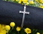 Sideways Cross Stretch Bracelet Silvertone Charm with Hematite Beads