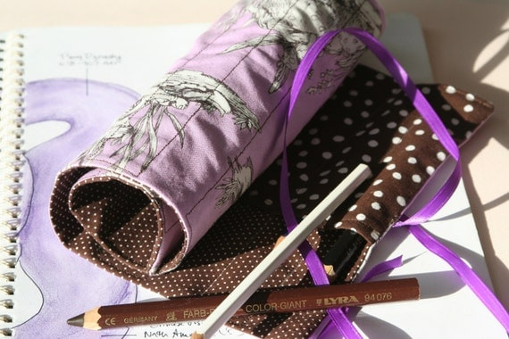 Waldorf Style Deluxe Pencil Case/Roll - Lavender with Flower Fairies and contrasting Chocolate Brown Polka Dots