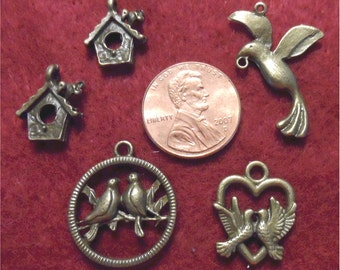 Assorted Bird Charms Antique Bronze - #2 collection of 5