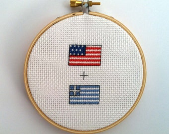 American + ANOTHER NATION'S Flag Cross Stitch finished framed in hoop custom made American heritage hand embriodered gift USA United States