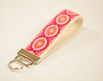 Key fob keyfob Key chain fabric wristlet orange pink tangerine Joel Dewberry designer fabric