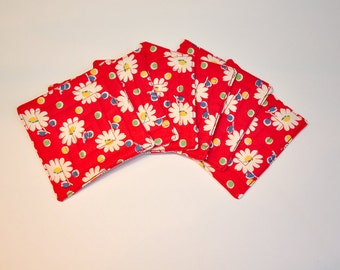 Coaster Fabric Coasters Mug Rug Bright red daisy daisies retro Set of 6  Reversible