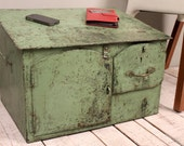 Antique Indian Green Industrial Rustic Merchant's Desk Art Jewelry Box Small Table Charging Station