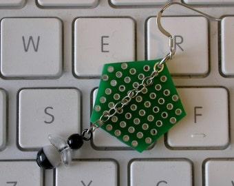 Computer Bug Earrings w/ Circuit Board - Computer Earrings - Wearable Tech - Geek Chic Earrings - Geeky Jewelry - Nerdy Jewelry - Nerd Gift