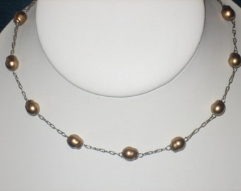 Freshwater Pearl Necklace, Vintage, Silver Chain, Toffee Color