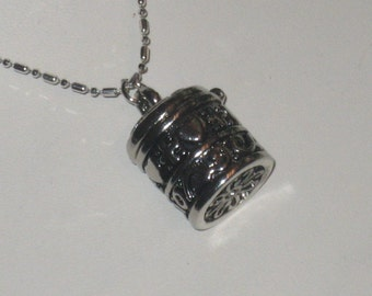 Large Locket Silver Plated Chain, Barrel Shape, Many Uses, Magnet Closure