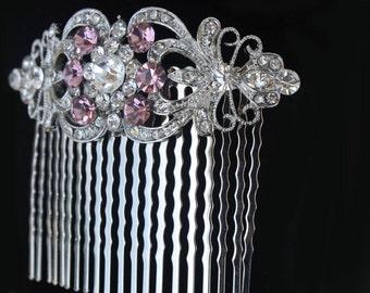 amethyst purple silver art deco crystal clear rhinestone bridal hair comb wedding hair combs headpiece bridesmaid jewelry hair pin