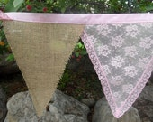 Little Girls Room Decoration Pink Lace Burlap & Polk A Dot Fabric Bunting 15 Ft Garland Banner