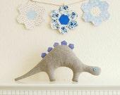 Grey & Lavender Stegosaurus Dinosaur Plush Toy