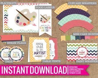 Rainbow Art Paint Party Collection - Instant Download - DIY Printable - Tags, Cupcake Wrappers, Straw Flags, Table Tents