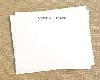 Personalized Flat Social Stationery Cards with Name / Personalized Notecard Set
