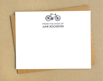 Vintage Inspired Bicycle Personalized Stationery Cards / Notecard Set with Bicycle Design / Custom Stationary