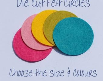 DIECUT FELT CIRCLES - 50 Circles - Choose From 68 Colours and 8 Sizes - Die Cut Felt Shapes