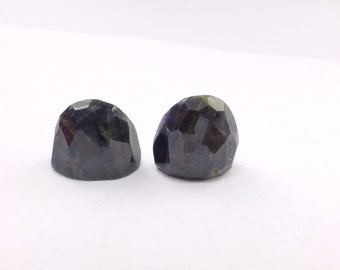 SAPPHIRE. Tongues. Denim Blue Parti Color. Tongues. Natural. High Dome Faceted.  2 pc. 15.47 cts. 12x7x9mm (S335)