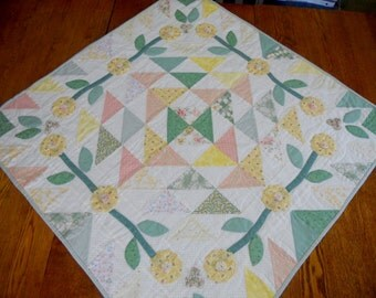 Quilted Table Runner, Table Topper, Spring Pastel Flowers, Applique, Hand Quilted, Cottage Chic
