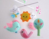 Smiling Birds in The Sky - Baby Mobile - Happy Cloud Crib mobile -  Baby bird Nursery Mobile (Choose Your Felt Color)