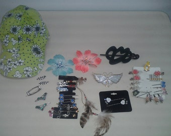Amazing Lot of Vintage Hair Ornaments and Hat-Butterflies, Hearts, Stars, Indian Hippie, Porcelain Flowers, Crystals, Hemp, Barrettes