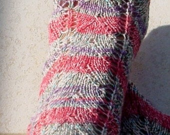 Hand Knit Socks, Women, Girls, Multi Color Lacey Pattern
