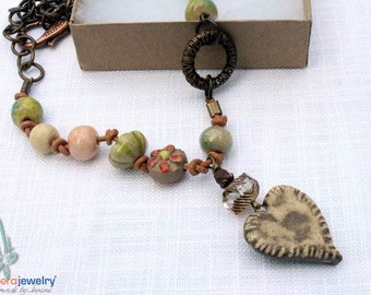 Green, boho necklace,art beads, Gaea, vintage brass, leather cord, autumn, ceramic beads, fall necklace by Esfera jewelry