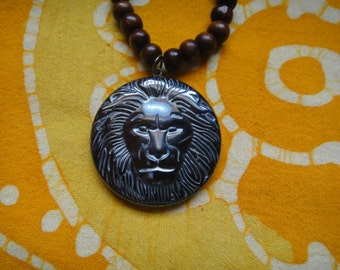 Rasta Lion Prayer Bead Necklace Carved Hematite Pendant Mala Mens Long Statement Hemp Tribal
