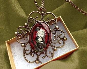 Gothic Girl Steampunk Pendant - Lolita Necklace--Octopus Tea