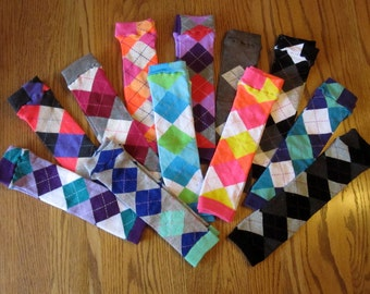 Argyle Leg Warmers - 3 Styles Left to Choose From - Pick Your Pair