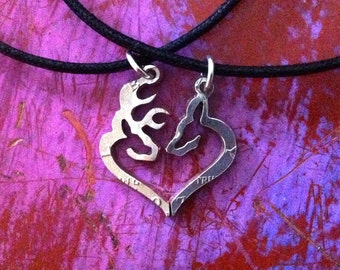 BUCK & DOE HEART Couples Necklaces