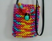 Hipster Bag, Hand Knit Novelty Yarn, Multi Color Orange, Yellow, Turquoise, Pink, Cross Body Bag, Teens, Tweens, Women