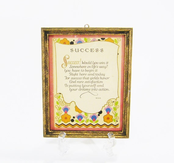 Success Vintage Motto Frame 1920's Picture Poetry