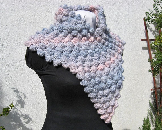 Crocheted Cowl, Dusty Rose, French Blue, Puff Stitch, Soft Merino Wool, Feminine Wrap, Dimensional Texture, Hand Made, Designer Original