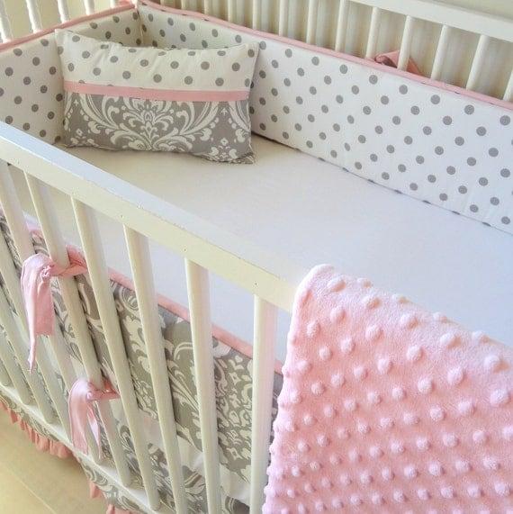 Pink And Gray Damask Crib Baby Bedding Set