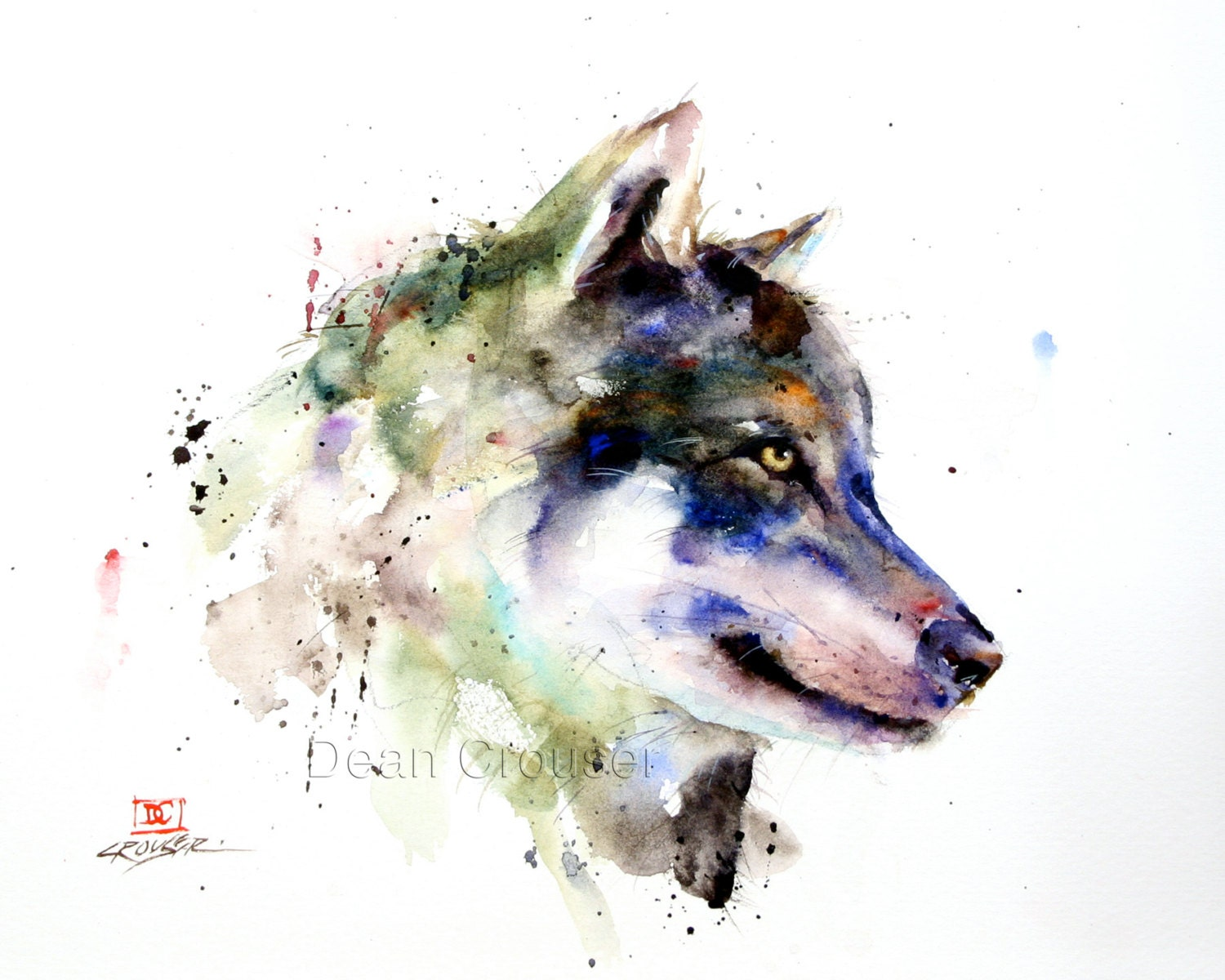 WOLF Watercolor Print Wolf Painting Wolf Art by Dean