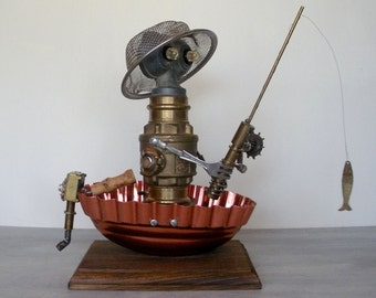 Catch of the Day Angling Fisherman fishing folk art sculpture