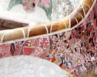 Barcelona Photography - Gaudi Print Parc Guell Photo - Pink Decor - Mosaic Tile - Spain Photography Spanish Decor Mediterranean Art