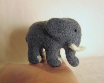 Felted Elephant - Needle Felted Animal Miniature