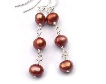 Pearl Earrings Burnt Orange Jewelry Sterling Silver