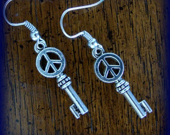 KEY with PEACE SYMBOL Earrings - Art Deco, Antique style Steampunk