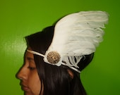 HERMES WINGS Headpiece - White Feather Wings With Vintage Gold Motift, Boho, Valentine Day, Music Festival, Statement Headpiece