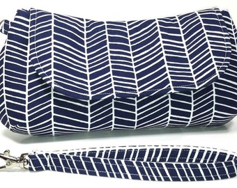 Clutch Purse Bag - Navy White Herringbone Chevron Nautical Clutch Wedding Clutch (LIMITED EDITION)